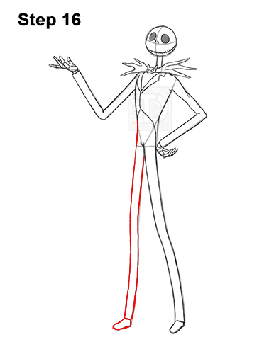 How to Draw Jack Skellington Nightmare Before Christmas Full Body 16
