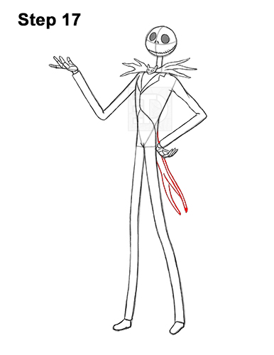 How to Draw Jack Skellington Nightmare Before Christmas Full Body 17