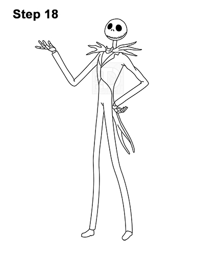 How to Draw Jack Skellington Nightmare Before Christmas Full Body 18