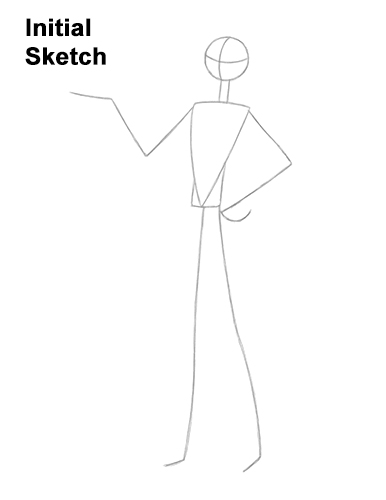 How to Draw Jack Skellington Nightmare Before Christmas Full Body Guides Lines