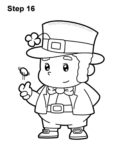 How to Draw Cartoon Cute Leprecahun Chibi 16