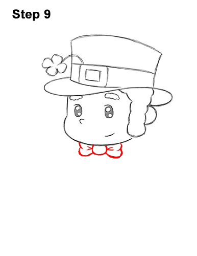 How to Draw Cartoon Cute Leprecahun Chibi 9