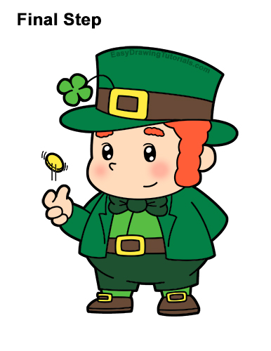 How to Draw Cartoon Cute Leprecahun Chibi