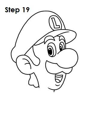 How to Draw Luigi Step 19