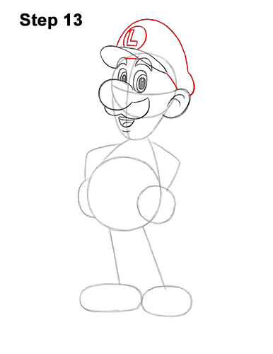 How to Draw Luigi Super Mario Nintendo Full Body 13