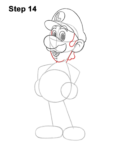 How to Draw Luigi Super Mario Nintendo Full Body 14