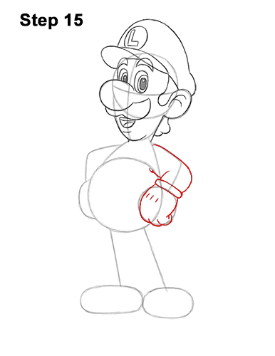 How to Draw Luigi Super Mario Nintendo Full Body 15