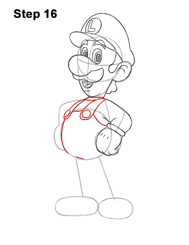 How to Draw Luigi Super Mario Nintendo Full Body 16