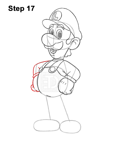 How to Draw Luigi Super Mario Nintendo Full Body 17