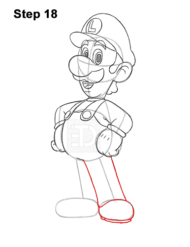 How to Draw Luigi Super Mario Nintendo Full Body 18