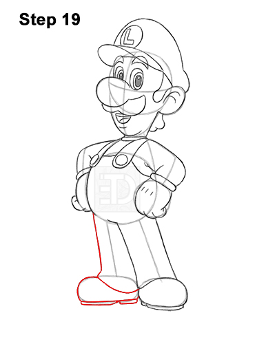 How to Draw Luigi Super Mario Nintendo Full Body 19