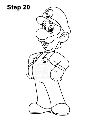 How to Draw Luigi Super Mario Nintendo Full Body 20