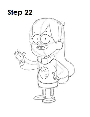 How to Draw Mabel Pines Step 22
