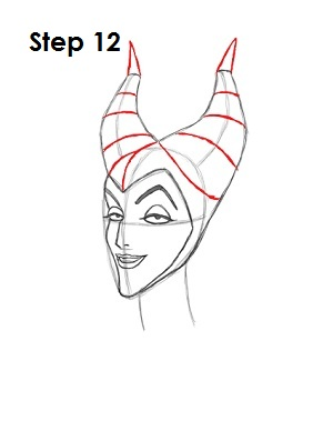 How to Draw Maleficent Step 12