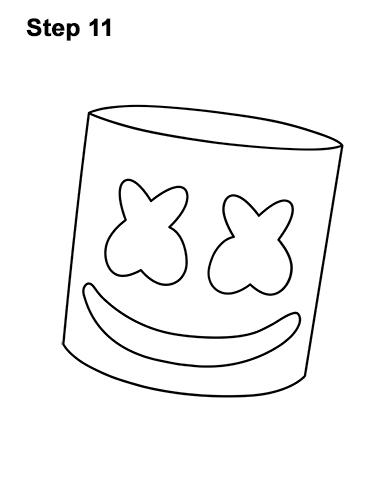 How to Draw Marshmello Marshmallow DJ Head 11