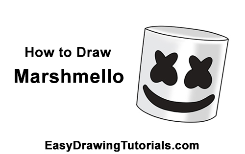 How to Draw Marshmello Marshmallow DJ Head