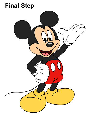 How to Draw Classic Mickey Mouse Full Body Disney