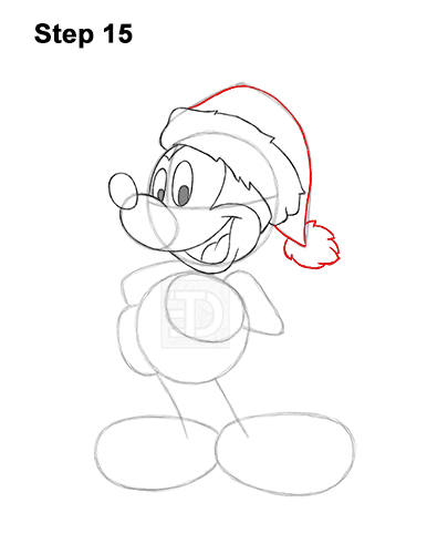 How to Draw Mickey Mouse  Christmas Santa Claus 15