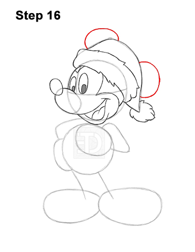 How to Draw Mickey Mouse  Christmas Santa Claus 16