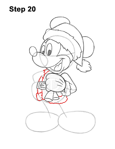 How to Draw Mickey Mouse  Christmas Santa Claus 20