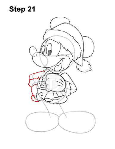 How to Draw Mickey Mouse  Christmas Santa Claus 21