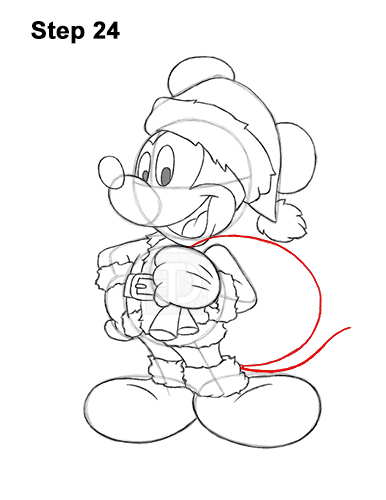 How to Draw Mickey Mouse  Christmas Santa Claus 24