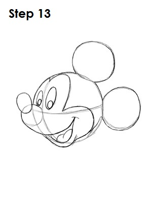 Draw Mickey Mouse Step 13