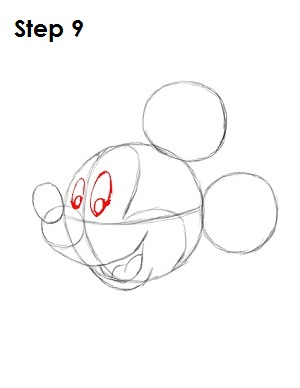 Draw Mickey Mouse Step 9