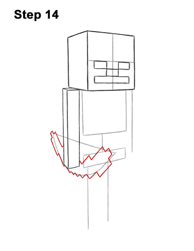 How to Draw Minecraft Skeleton Bow 14