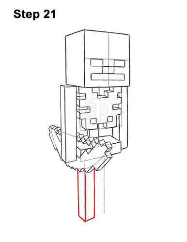 How to Draw Minecraft Skeleton Bow 21