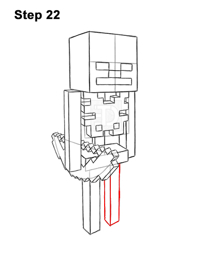 How to Draw Minecraft Skeleton Bow 22