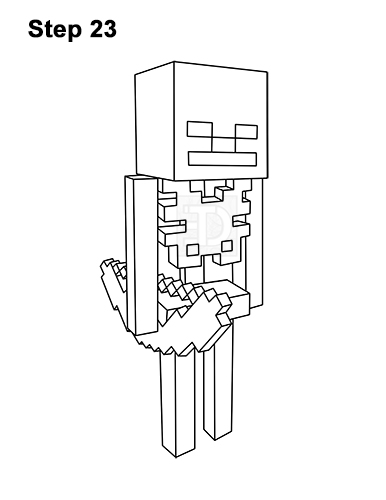 How to Draw Minecraft Skeleton Bow 23