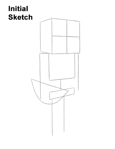 How to Draw Minecraft Skeleton Bow Guides Lines
