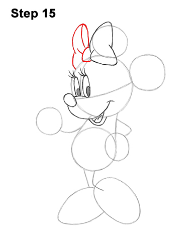 How to Draw Classic Minnie Mouse Full Body Disney 15