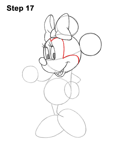 How to Draw Classic Minnie Mouse Full Body Disney 17