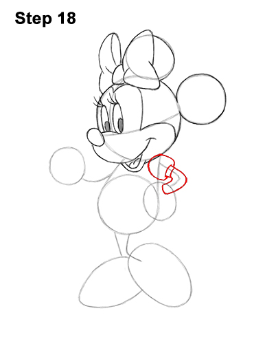 How to Draw Classic Minnie Mouse Full Body Disney 18