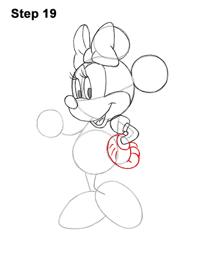 How to Draw Classic Minnie Mouse Full Body Disney 19