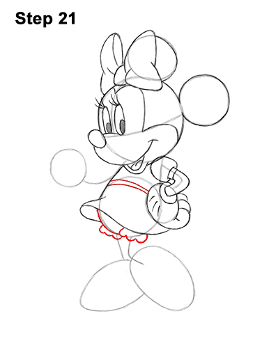 How to Draw Classic Minnie Mouse Full Body Disney 21