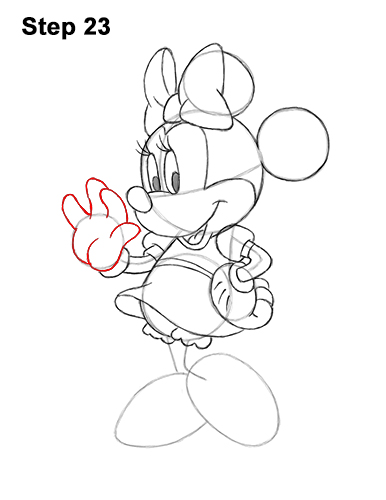 How to Draw Classic Minnie Mouse Full Body Disney 23
