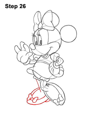 How to Draw Classic Minnie Mouse Full Body Disney 26