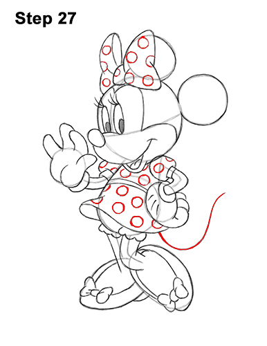 How to Draw Classic Minnie Mouse Full Body Disney 27