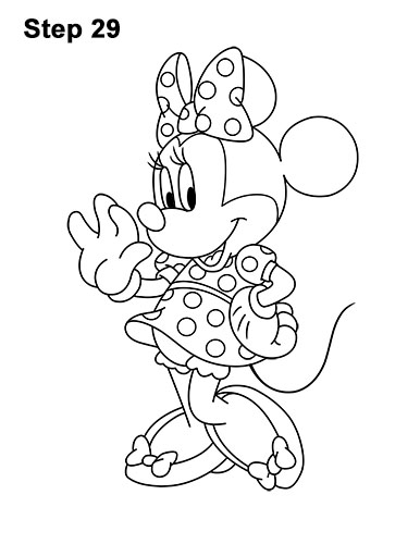 How to Draw Classic Minnie Mouse Full Body Disney 29