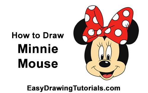 How to Draw Minnie Mouse Head Disney