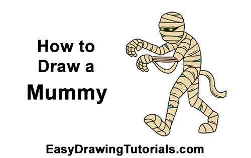 How to Draw Cartoon Mummy Halloween