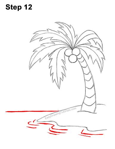 How to Draw Cartoon Palm Tree Tropical Island Beach 12