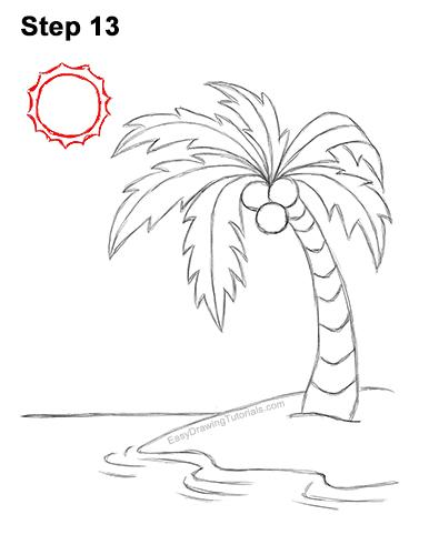 How to Draw Cartoon Palm Tree Tropical Island Beach 13