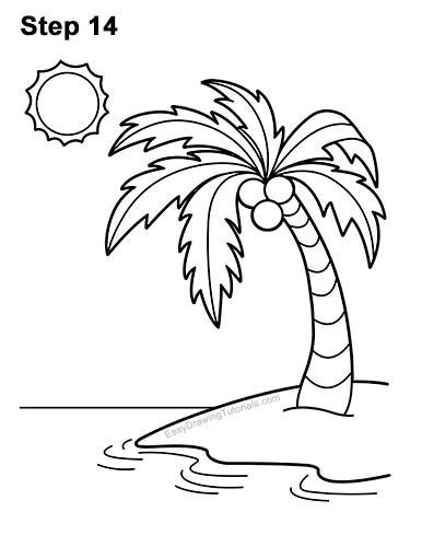 How to Draw Cartoon Palm Tree Tropical Island Beach 14