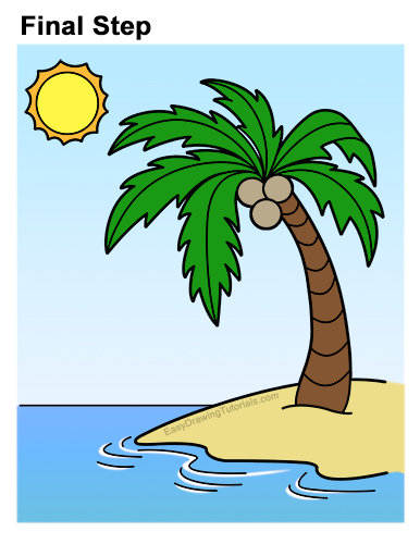 How to Draw a Palm Tree on an Island VIDEO & Step-by-Step ...