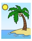 How to Draw a Palm Tree on a Tropical Beach Island