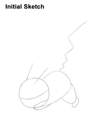 How to Draw Pikachu Pokemon Side Lightning Rod Attack Fight Battle Bold Initial Guides